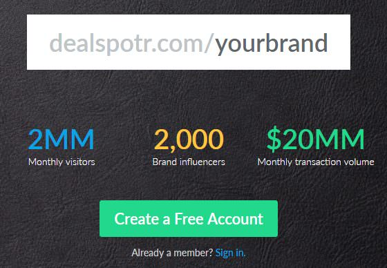 Dealspotr Create an account