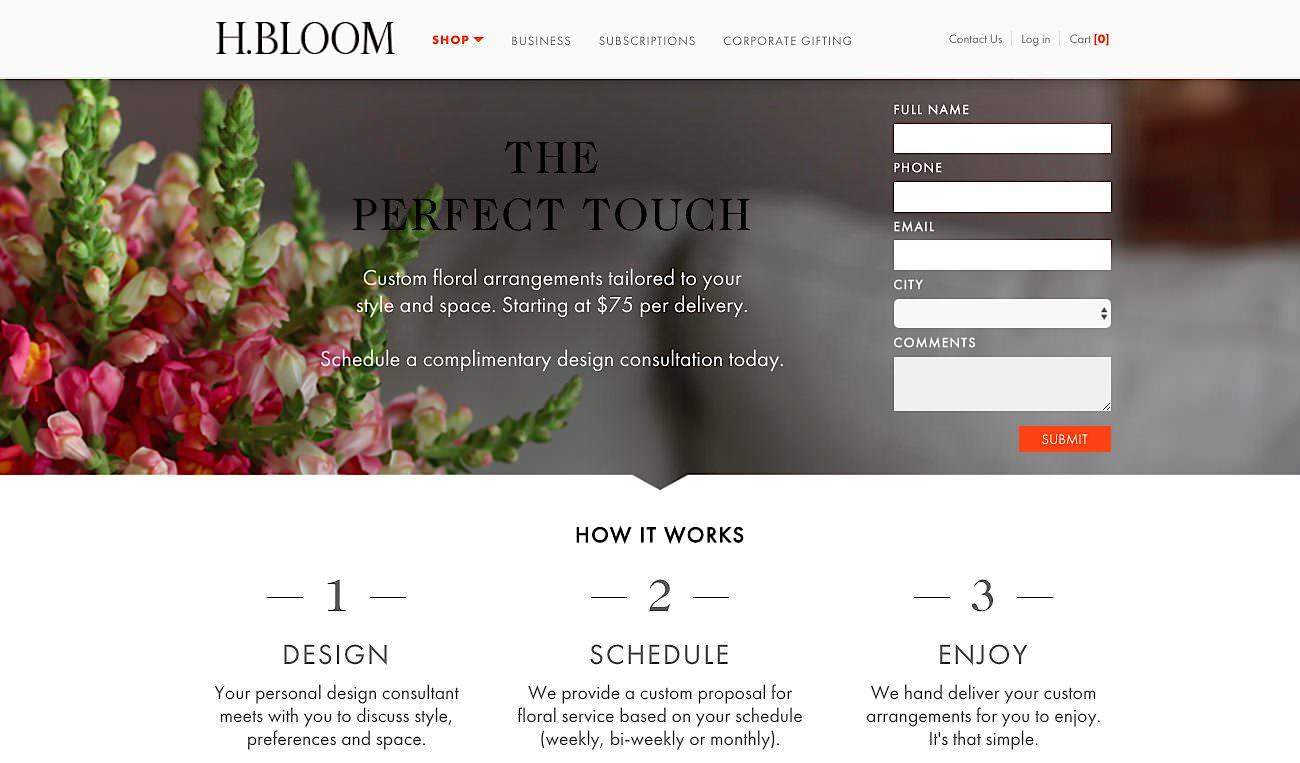 H Bloom landing page