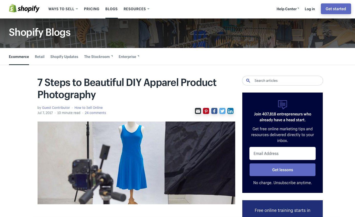 Shopify headline example
