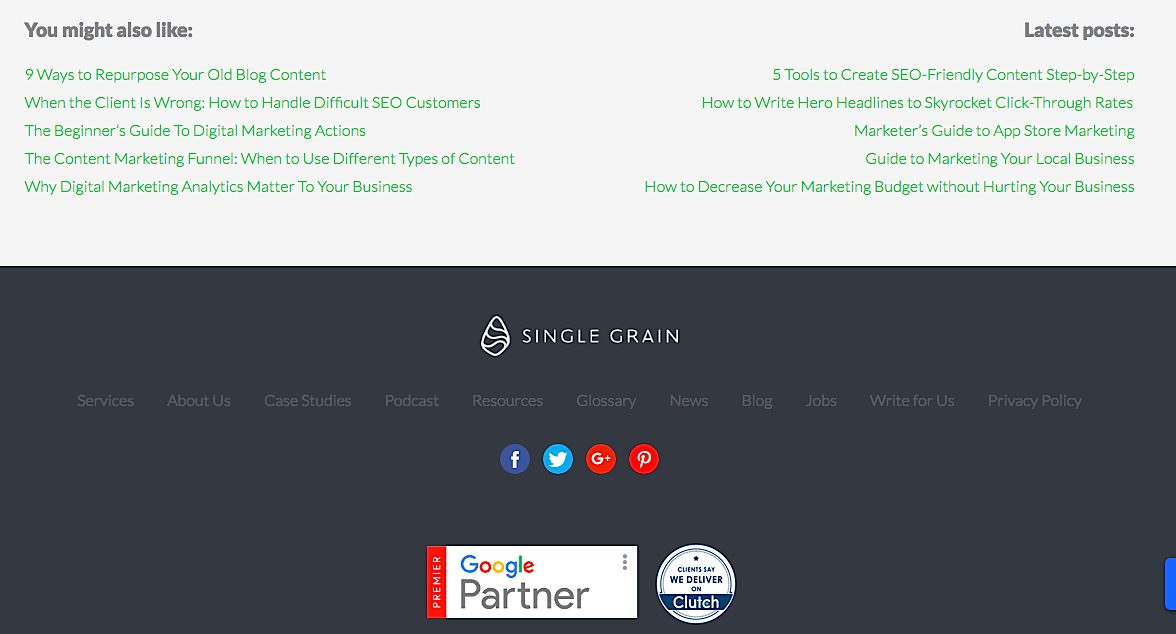 Single Grain digitial marketing agency footer
