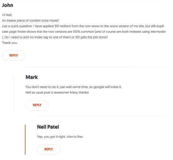 Neil Patel blog comments