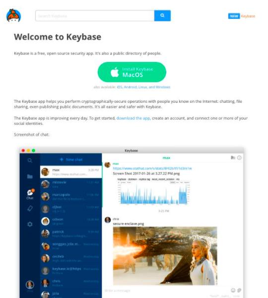 Keybase Dashboard consumer control of information through blockchain