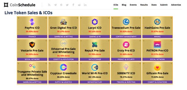 CoinSchedule - Live Token Sales & ICOs