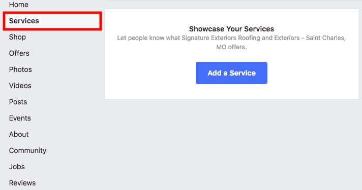 FB services tab