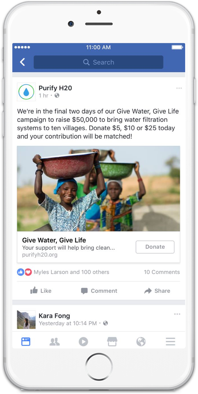 Facebook collect donations