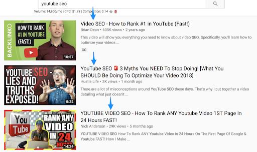 YouTube seo titles