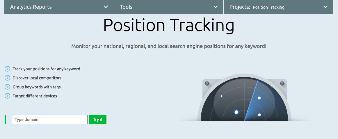 SEMrush Position Tracking