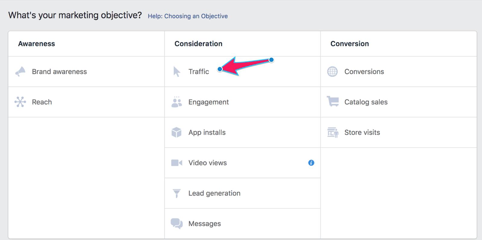 2 facebook ads marketing goal