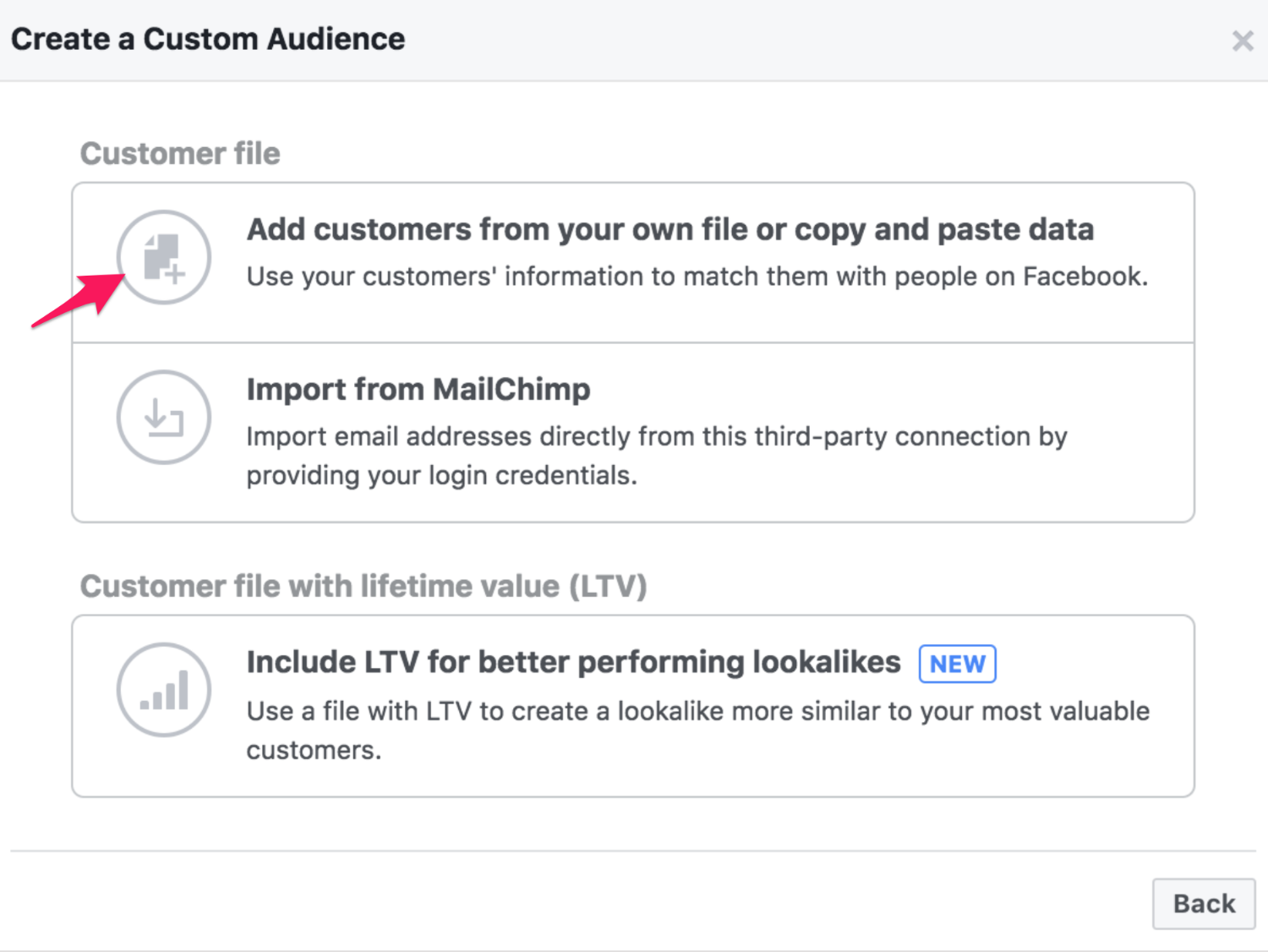 24 facebook custom audience list