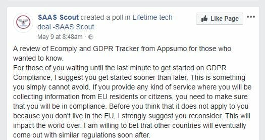 Facebook group on GDPR