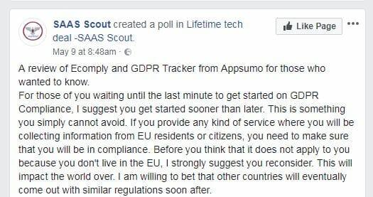Facebook group on GDPR