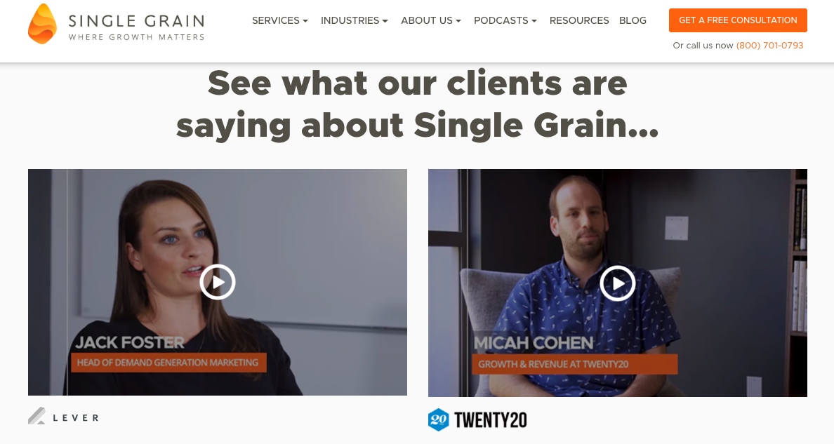 Single Grain customer testimonial videos