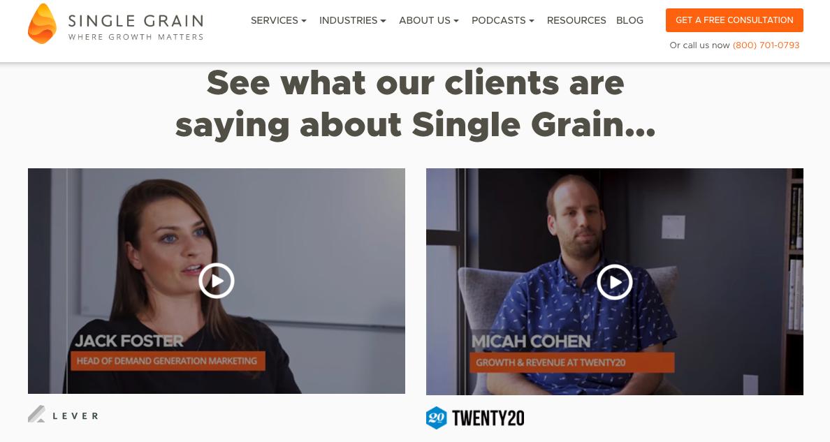 Single Grain customer testimonial videos