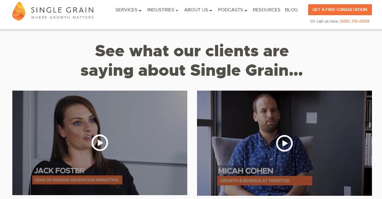 single grain testimonials