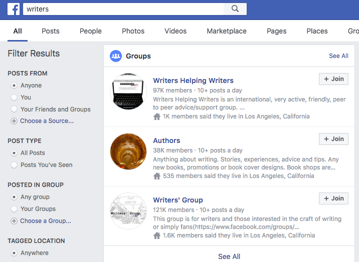 FB search for groups