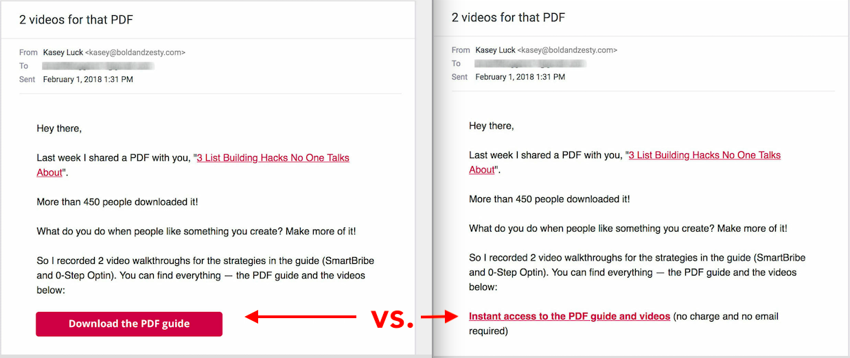 CTA vs hyperlink in email