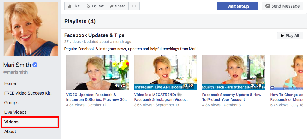 Mari Smith Facebook live video playlist