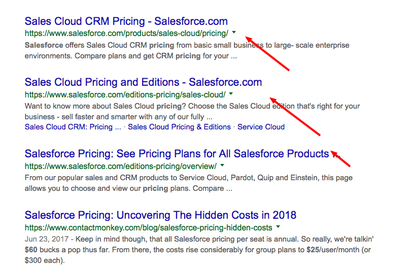 Results from salesforce pricing