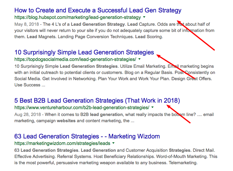 Results from website lead generation strategies