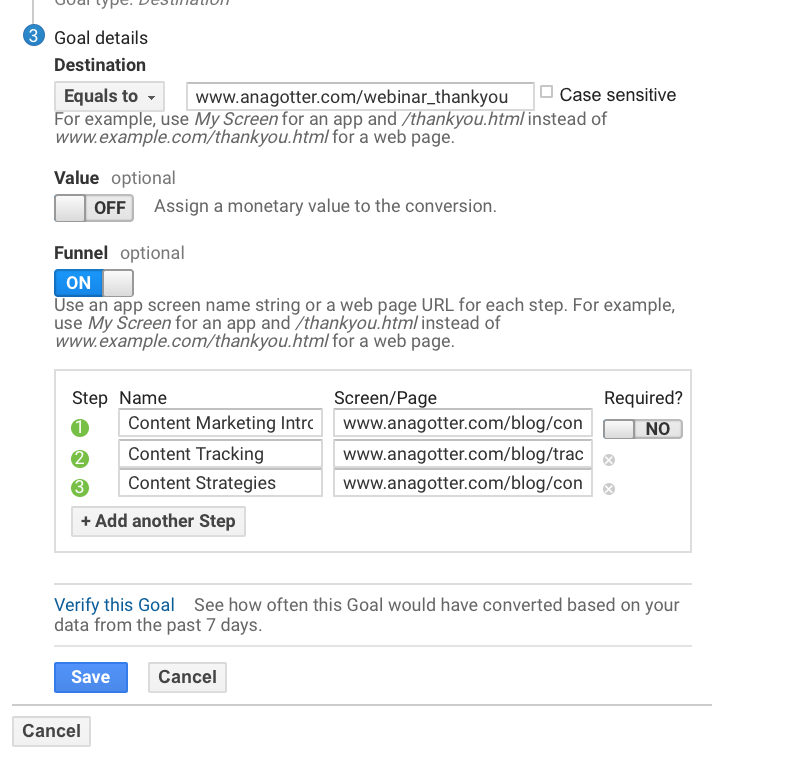 what four types of goals are available in google analytics