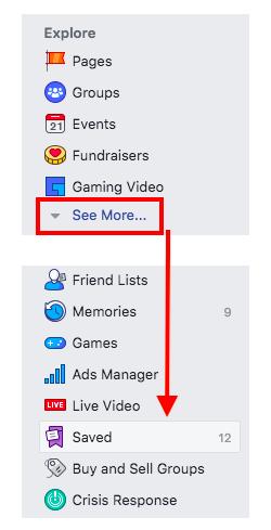 FB saved links