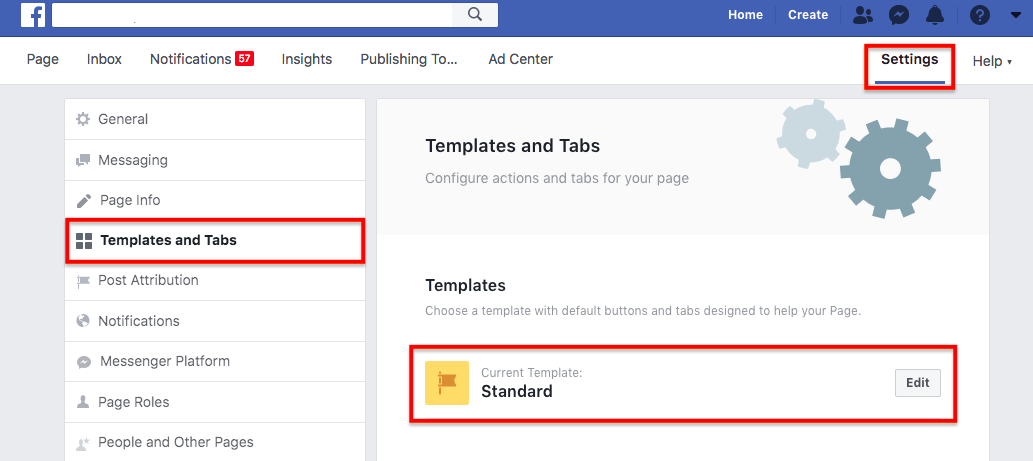 FB templates and tabs