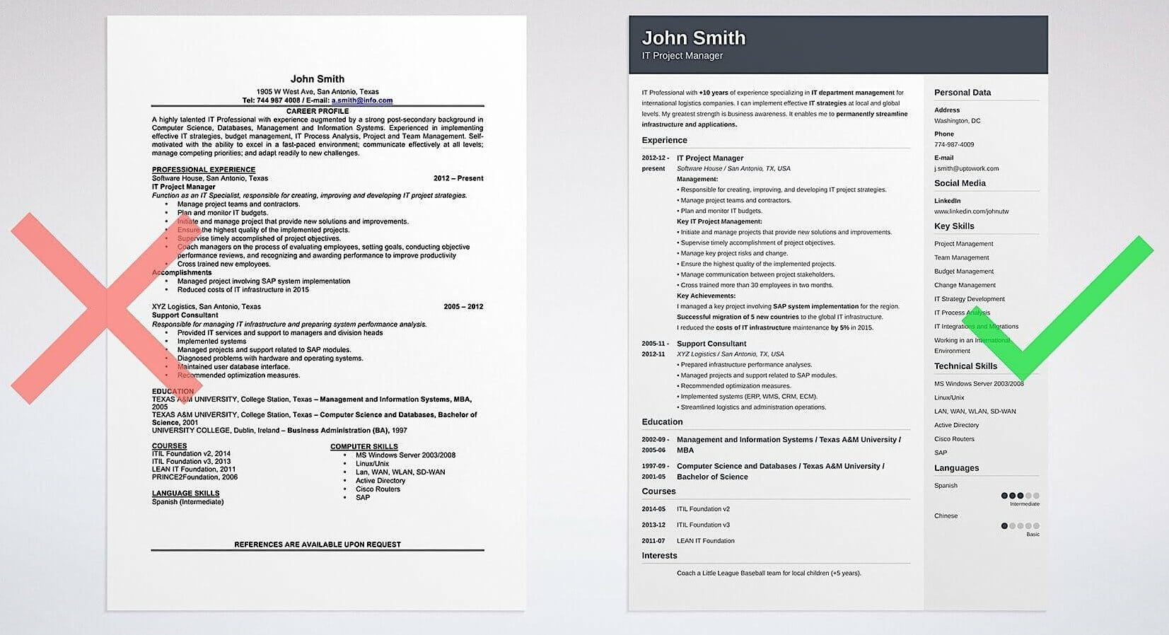 Good and bad resume