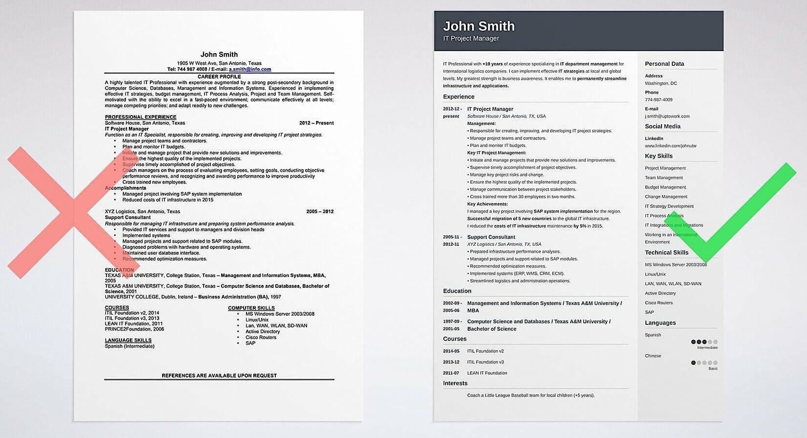 Good and bad resume