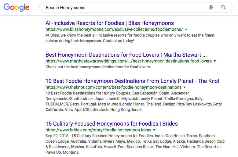 Google foodie honeymoons