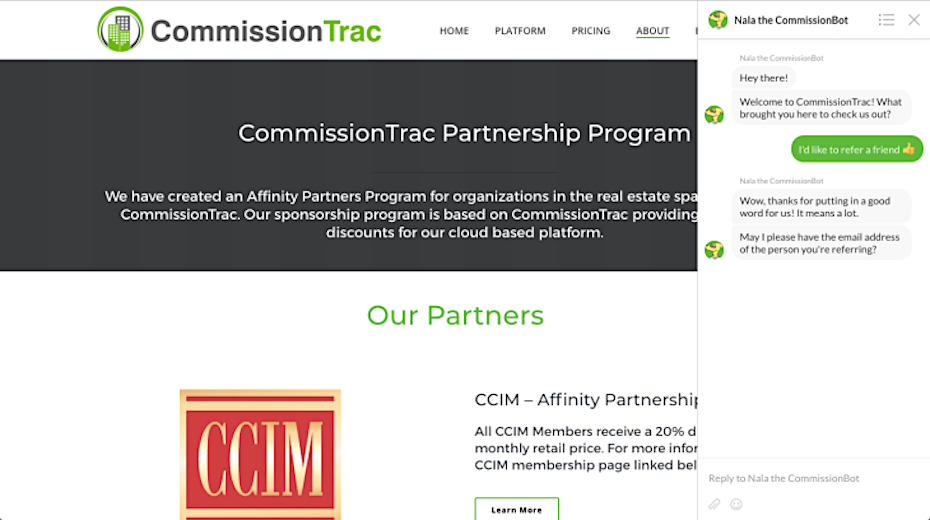 CommissionTrac chatbot