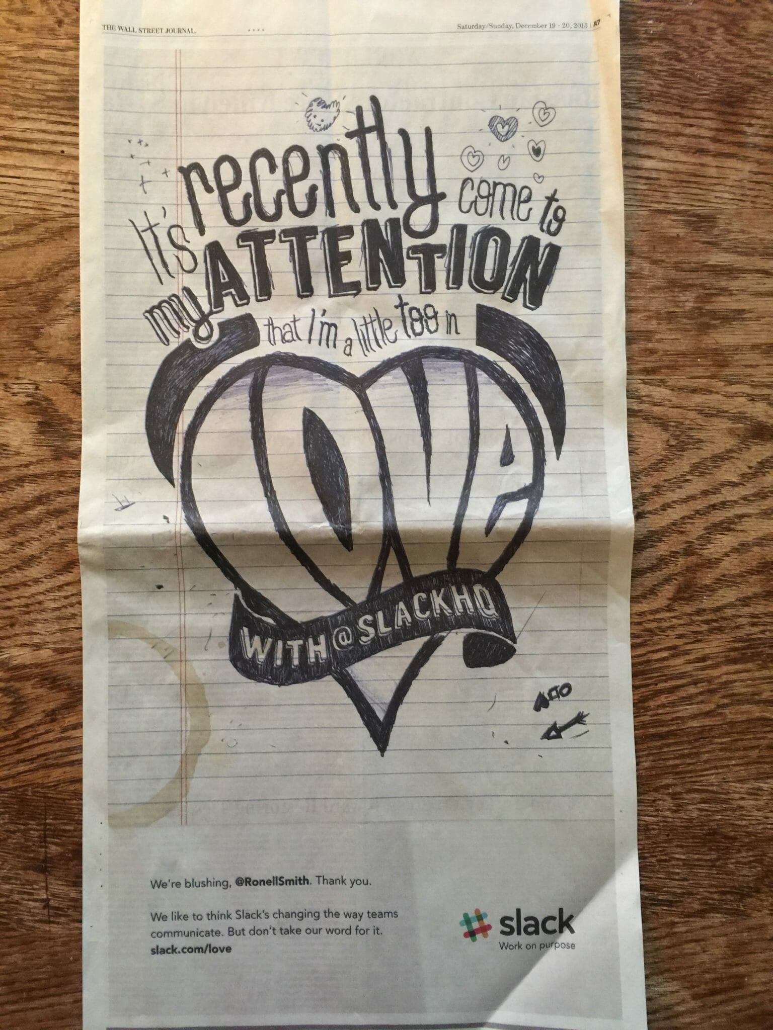 Slack WSJ wall of love