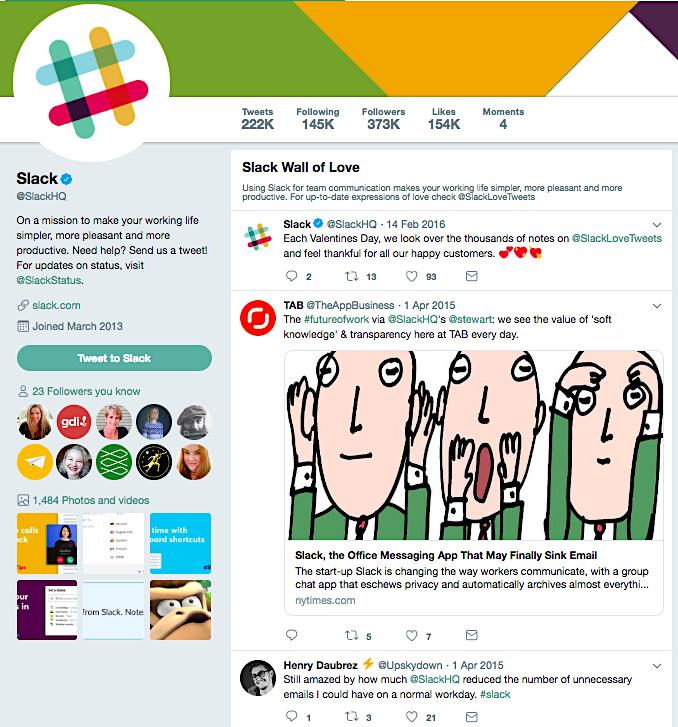 Slack's Wall of Love on Twitter