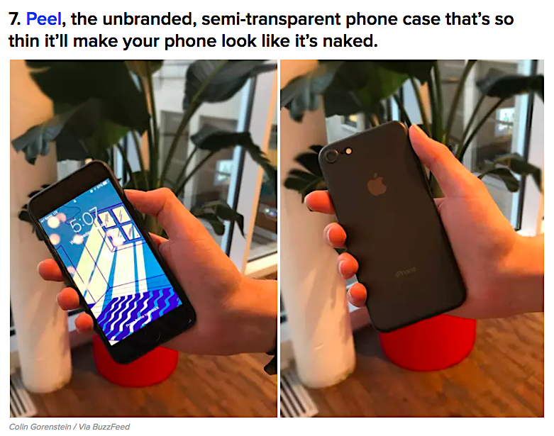 Peel cover on BuzzFeed