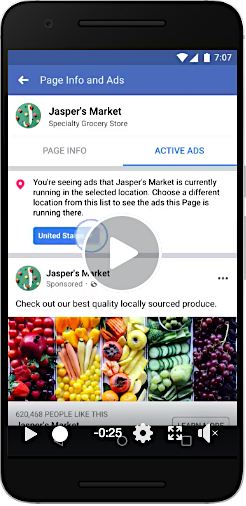 FB info and ads feature