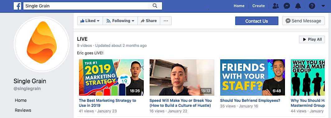Single Grain Facebook Live videos