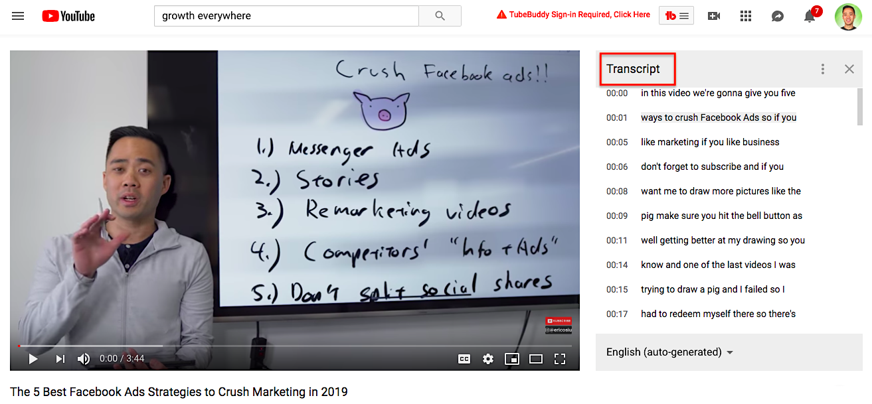 YouTube video transcript