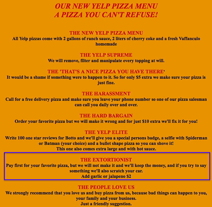 Botto Bistro special Yelp menu