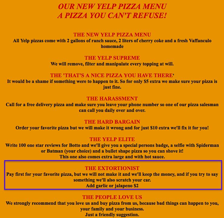 Botto Bistro special Yelp menu