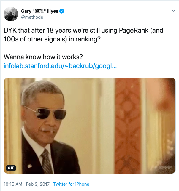 PageRank tweet