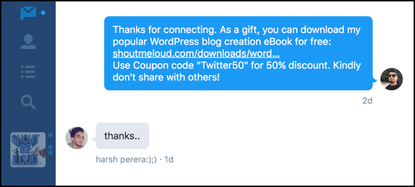 Twitter automated welcome messages