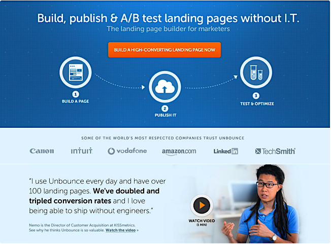 landing page body copy Unbounce