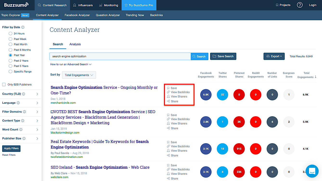 BuzzSumo backlinks and sharers