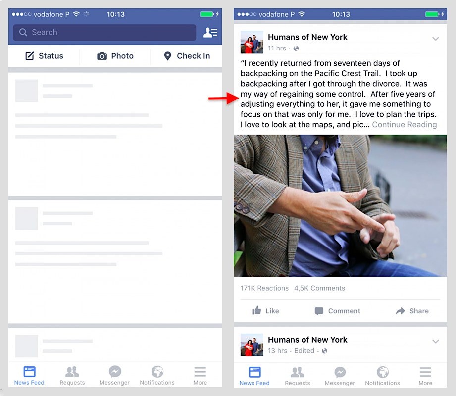 FB placeholder and loaded image