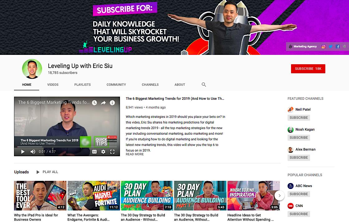 Crescita ovunque canale YouTube