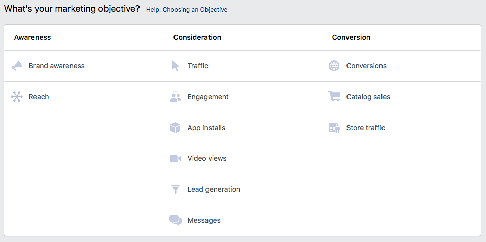 IG FB marketing objectives
