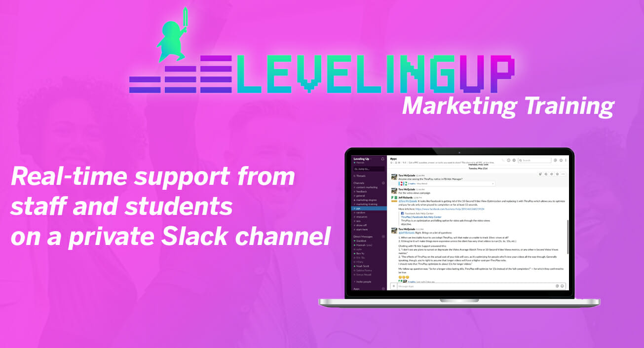 Leveling Up Marketing Training Slack Group