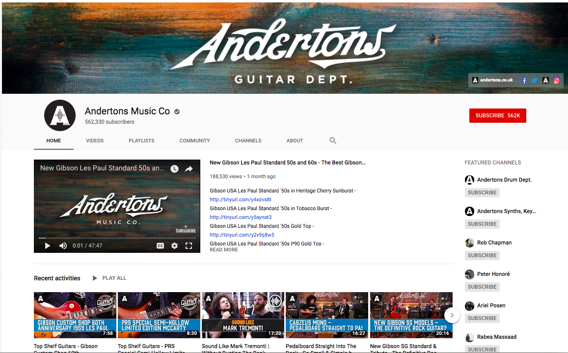 Andertons Music Co. YouTube page