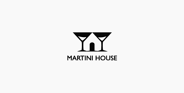 Martini House negative space logo