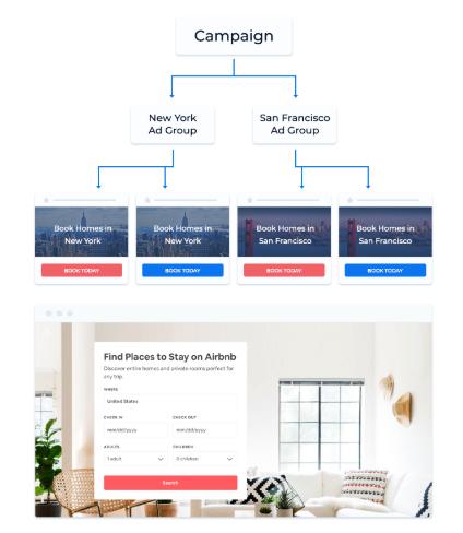 pagina singola di personalizzazione di airbnb
