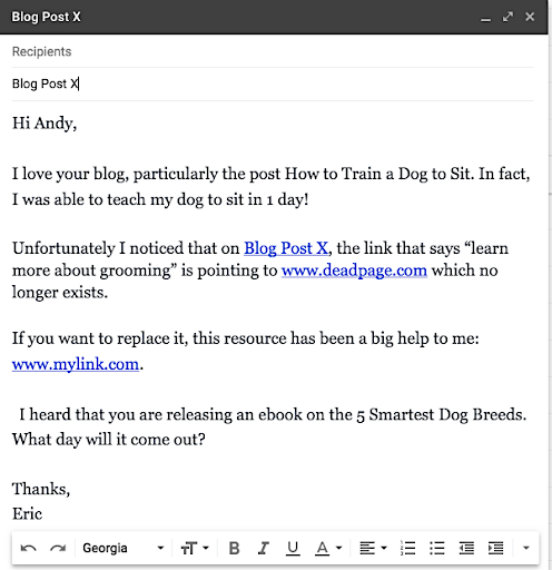 Broken link building email template